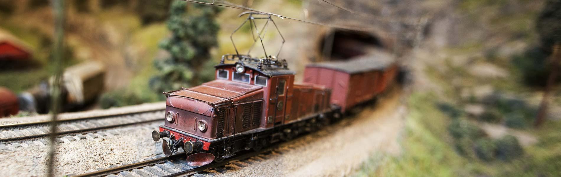 Tåg kommer ut ur tunnel i Modelljärnvägen.