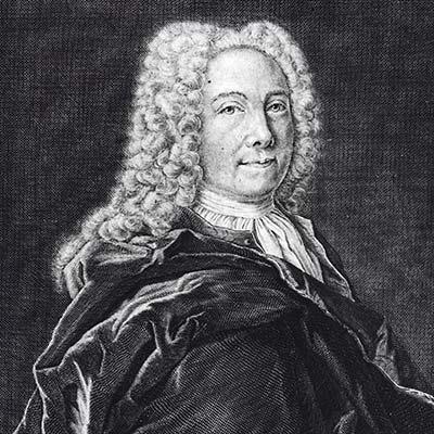 Svartvit skiss av Emanuel Swedenborg