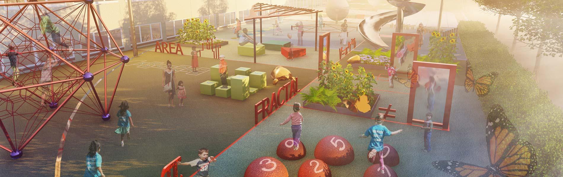 Skiss med lekpark, växter och matematiska inslag