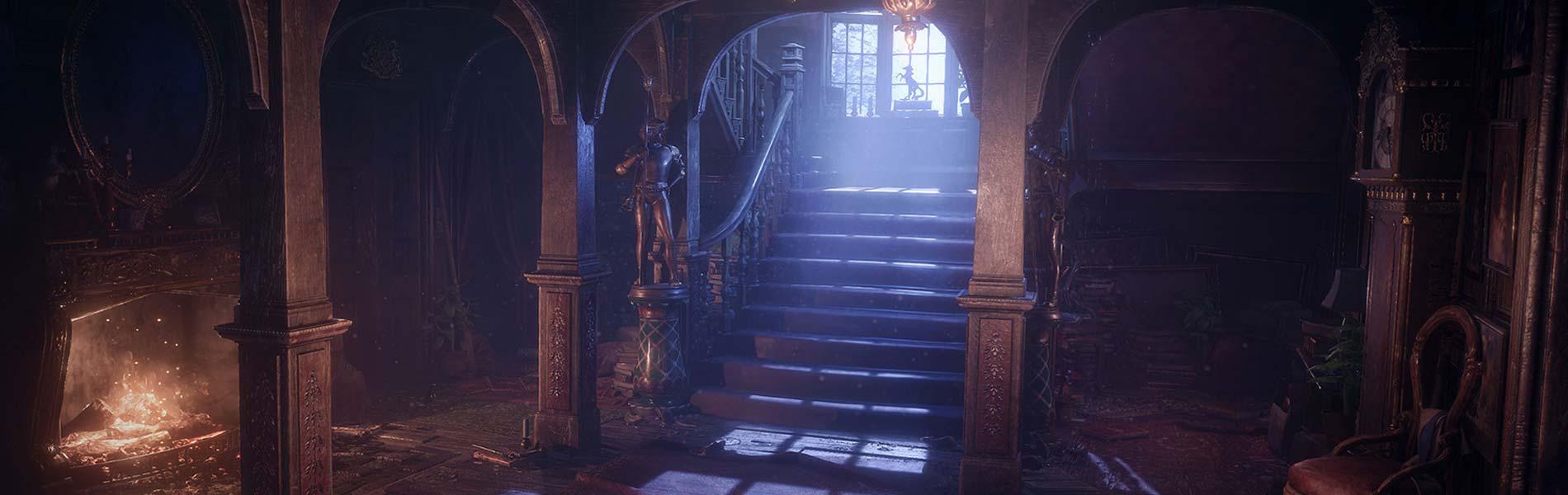 Spelvärld - pampig hall i gammalt hus