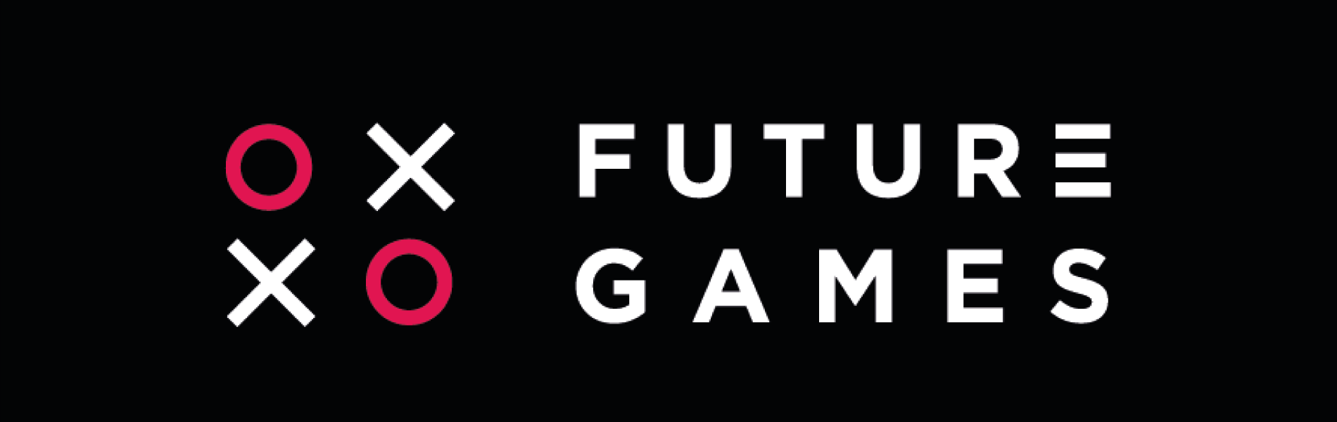FutureGames i vitt mot svart bakgrund