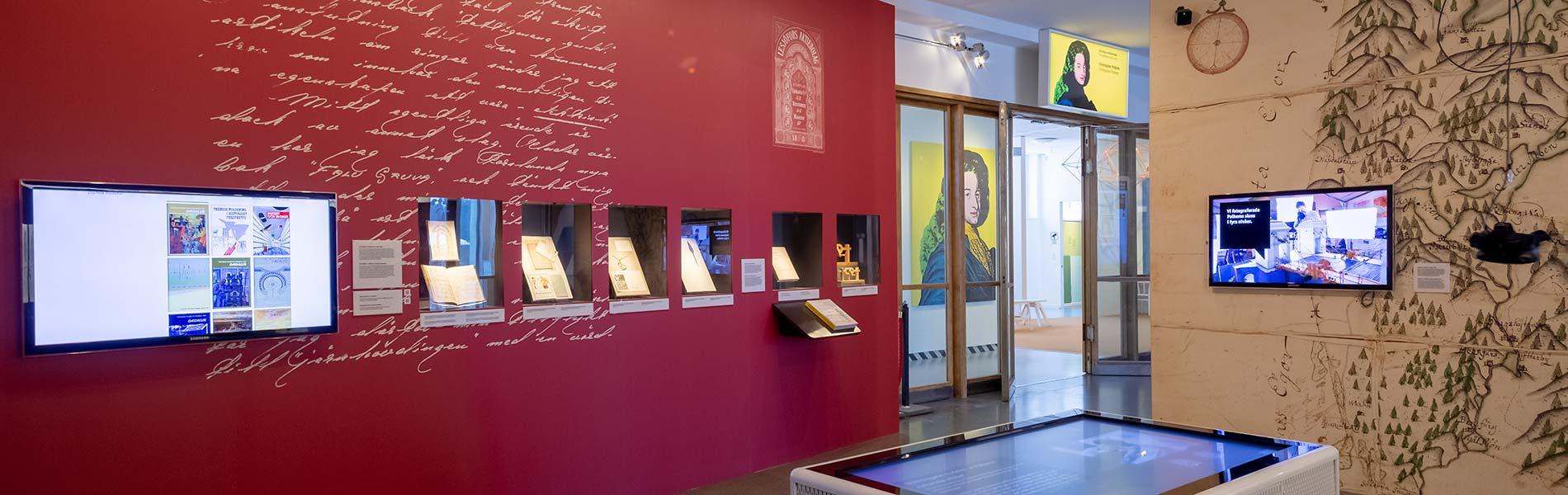 3D-visualiseringsbord i mitten av utställningen