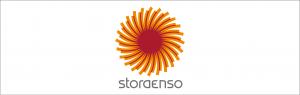 Stora Ensos logotyp med cirkelsymbol i orange och rött