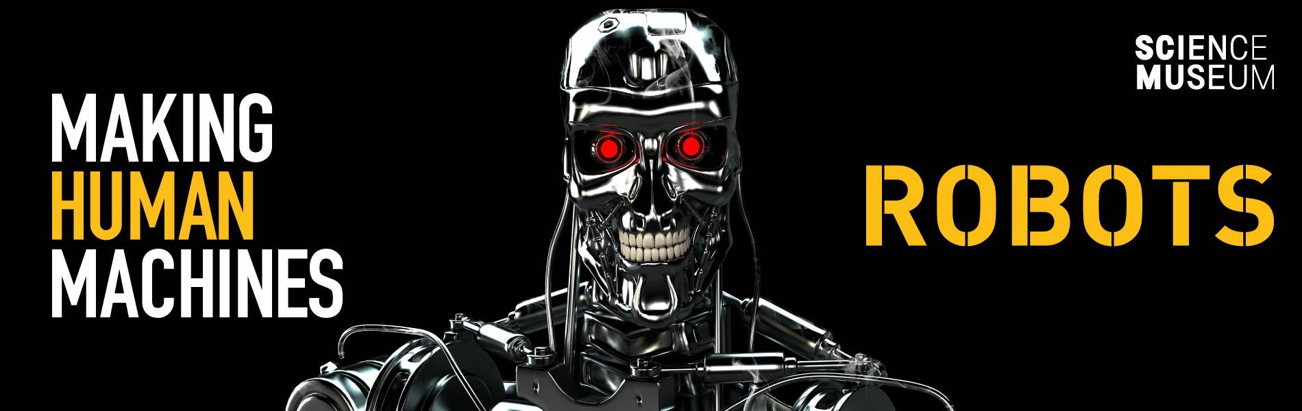 Skelettrobot med röda lysande ögon