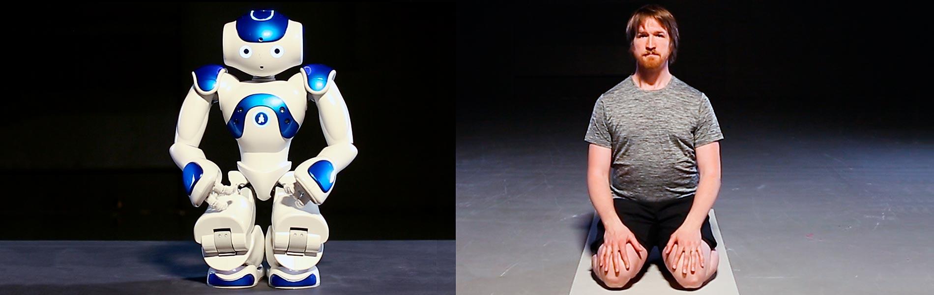 robotyoga med roboten Alex och människan Robin