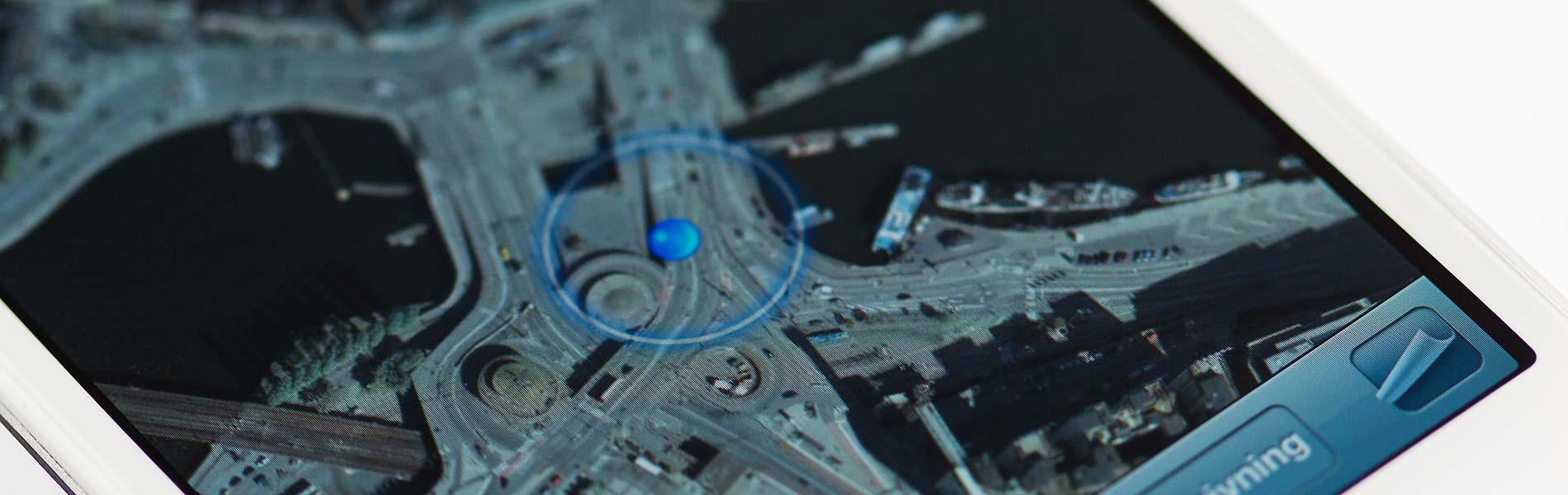 Närbild på en gps-karta