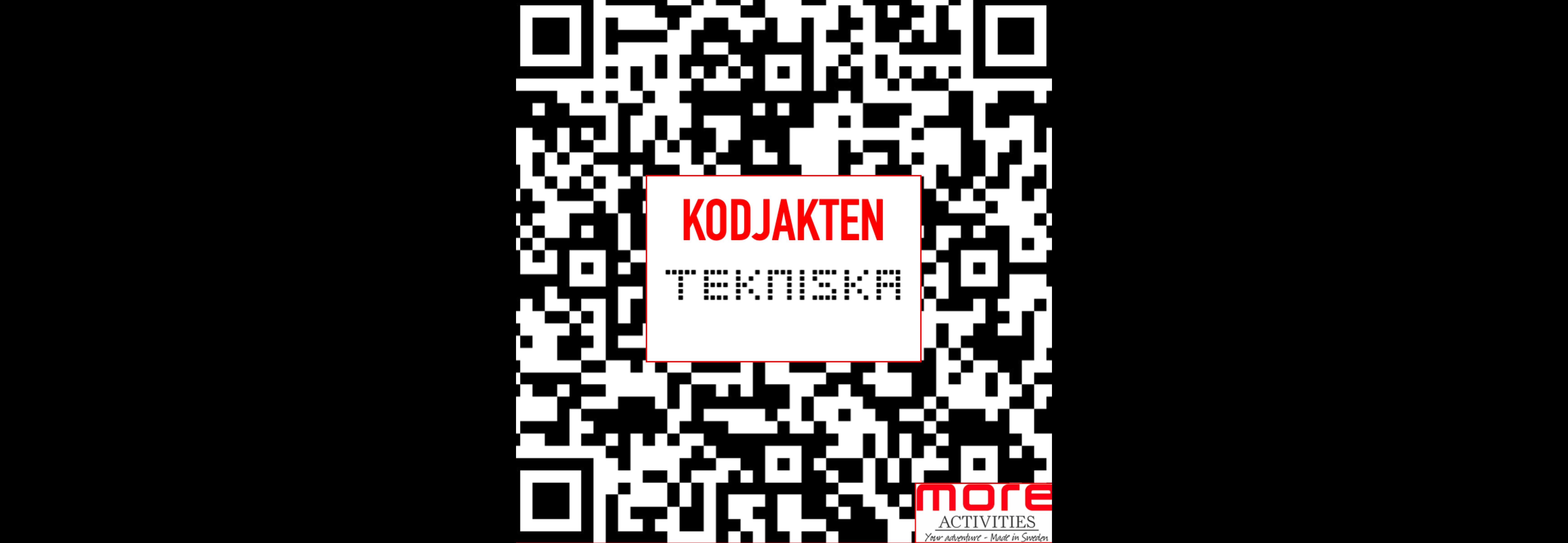 QR-kod med texten kodjakt tillsammans med tekniska logga