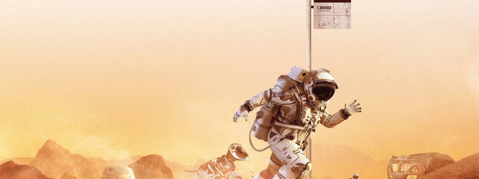 Astronaut and dog on Mars